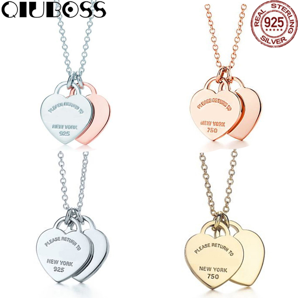 QIUBOSS TIFF 925 Sterling Silver Double Heart Lock Pendant in Sterling Silver Gold Color Rose Gold Necklace Clavicle Chain Gift yoursfs 18k rose white gold plated letter best mum heart necklace chain best mother s day gift