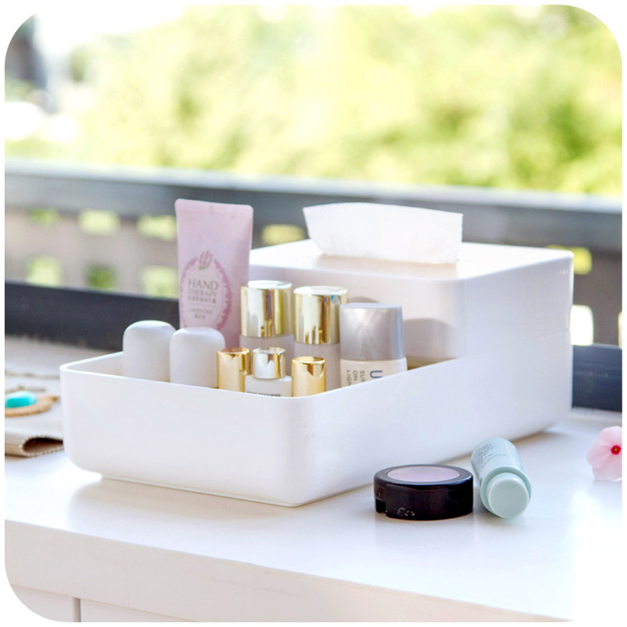 Makeup Comestic Tissue Case Holder Stationary Office Tool Plastic Desktop Table Home Storage Boxes Accessories QQP118