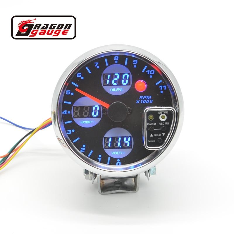 3.75 4 IN 1 Auto Gauge / DIGITAL SMOKE LEN FACE(Tachometer/oil pressure/volt.water temp)AUTO GAUGE/CAR METER
