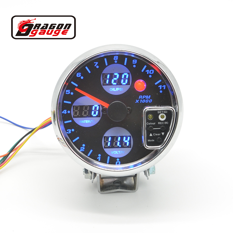 3.75 4 IN 1 Car Gauge / DIGITAL SMOKE LEN FACE(Tachometer/oil pressure/volt.water temp)/CAR METER digital hydraulic pressure gauge 400bar 40mpa 10000psi with bsp1 4 connector backlight pressure tester meter