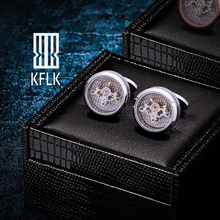 KFLK Shirts Silver Cufflinks for Mens Brand Tourbillon Movement Mechanical Cuff links Buttons High Quality male Free Shipping