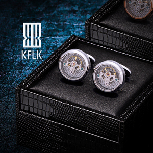 Image 1 - KFLK Shirts Silver Cufflinks for Mens Brand Tourbillon Movement Mechanical Cuff links Buttons High Quality male Free Shipping