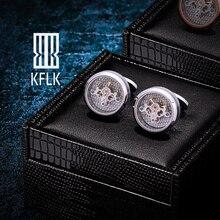 KFLK Shirts Zilveren Manchetknopen voor Heren Merk Tourbillon Beweging Mechanische manchetknopen Knoppen Hoge Kwaliteit mannelijke Gratis Verzending