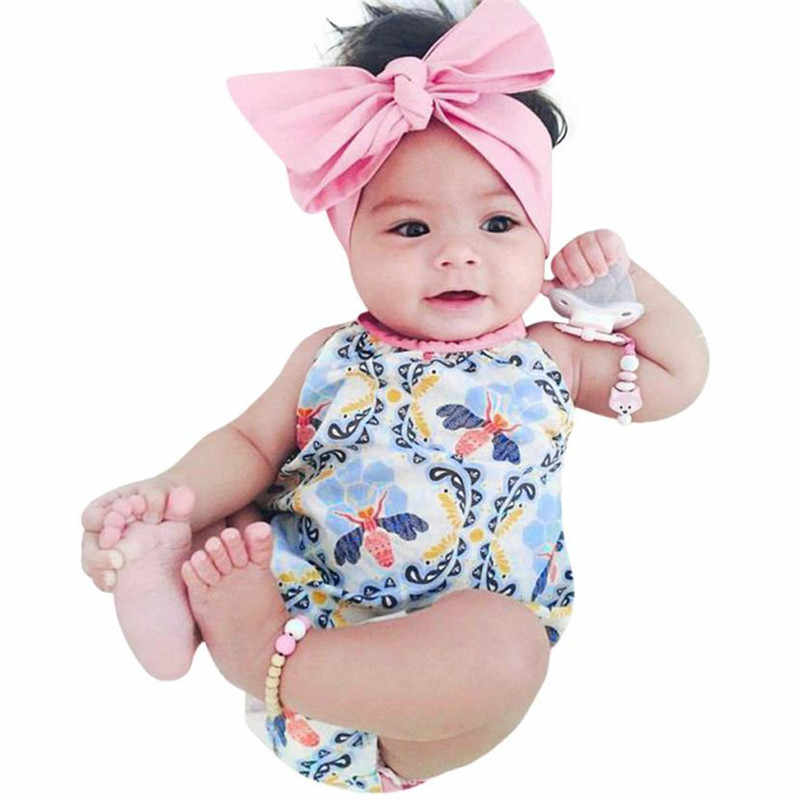 2Pcs Girls Floral bodysuit Toddler Jumpsuit Romper Headband baby clothes floral girls suit conjunto infantil summer top 20