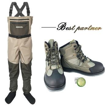 Fliegen Angeln Kleidung Waders Outdoor Jagd Waten Hosen und Schuhe Aqua Turnschuhe Overalls Filz Sohle Angeln Stiefel DXMU1