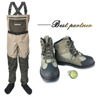 Fly Fishing Clothes Waders Outdoor Hunting Wading Pants and Shoes Aqua Sneakers Overalls Felt Sole Fishing Boots DXMU1