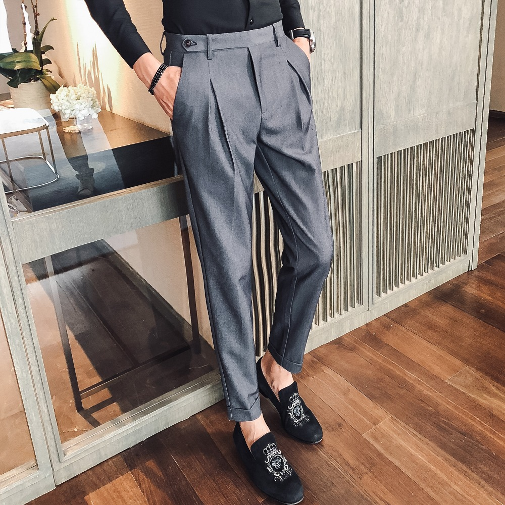 Office Trousers For Men Dress Pants Formal Grey Social Slim Fit Party Perfume Masculino Pantalon Costume Homme Black 2020