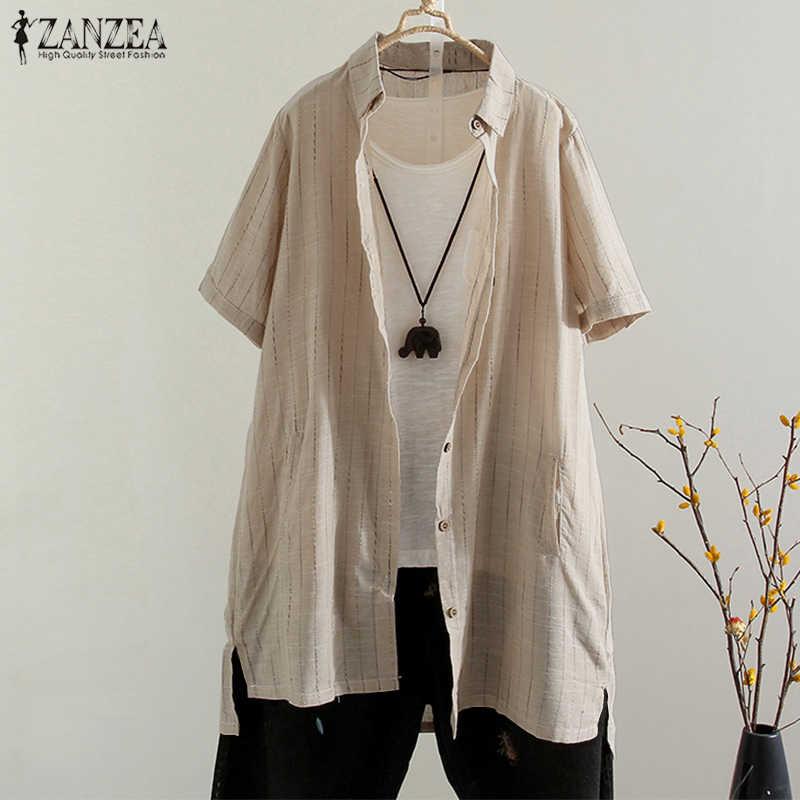2019 ZANZEA винтажная рубашка в полоску с отворотами, Свободная рабочая OL, летняя модная блузка для вечеринок, Женские повседневные Элегантные Топы с короткими рукавами и пуговицами
