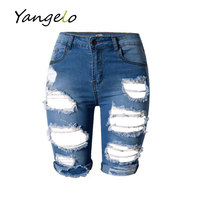 Fashion Street Hole Stretch Pants Slim Torn Femme Denim Shorts 2016 Europe Style Half Ripped Jeans