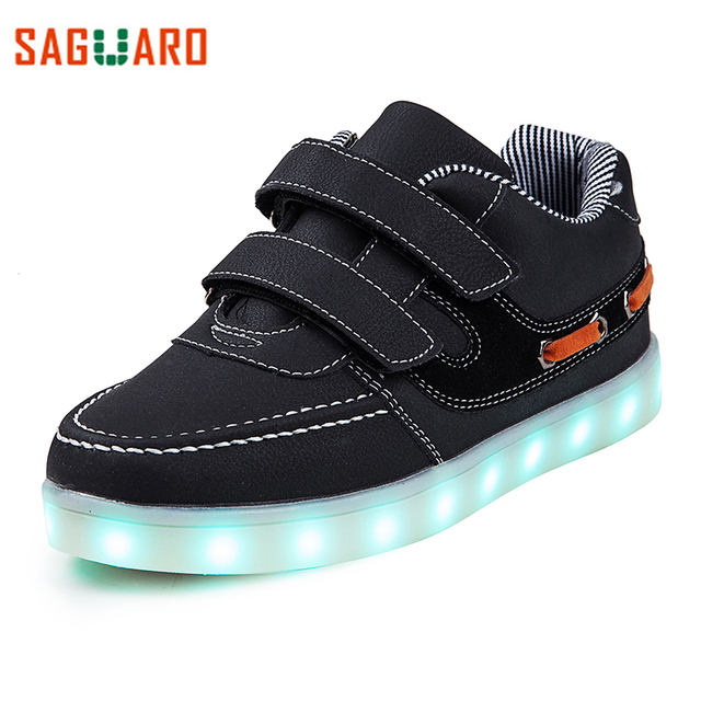 SAGUARO 2017 7 Colors LED Lights Kids Sneaker Shoes USB Charging Colorful Luminous Sneakers Outdoor Flat Girls Boys Shoes enfant