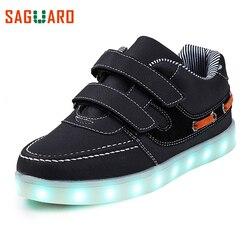 SAGUARO 2017 7 Colors LED Lights Kids Sneaker Shoes USB Charging Colorful Luminous Sneakers Outdoor Flat Girls Boys Shoes enfant