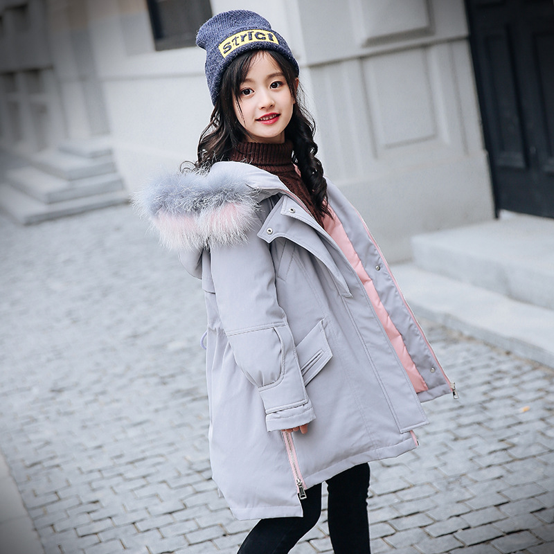 Girl Winter Coat Parka Long Down Puffer Hooded Fur Collar Children Winter Jacket Kids Thick Warm Clothes Teenage Girls Clothing mcckle women winter coat thick warm parka with big fur collar plus size fashion hooded cotton padded long puffer coat outerwear