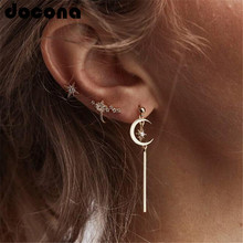 docona Gold Color Crystal Star Moon Studs Earrings Set for Women Metal Pendant Stud Earring Boho Jewelry Brincos 3pcs/1set 2965