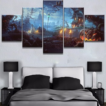 5 Piece HD Print Night Halloween Pumpkin Cuadros Landscape Canvas Wall Art Home Decor For Living Room Unique Gift Wall Picture