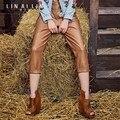 Женщины кожаные штаны Карандаш брюки Леггинсы Тонкий Свободные Харлан брюки Натуральная Кожа Обрезанные брюки Овечьей Шкуре Lederhosen