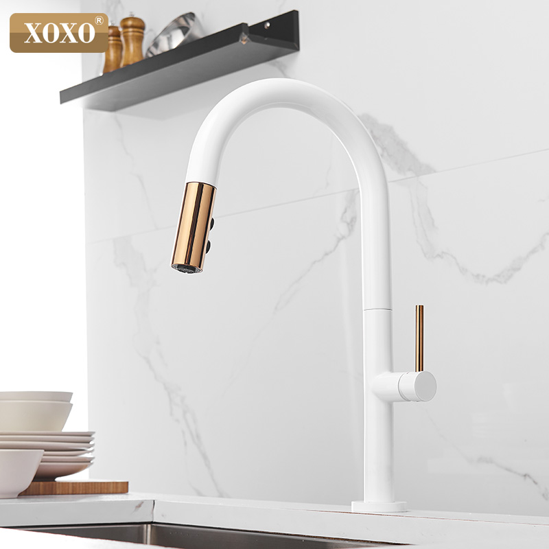 XOXO Kitchen Faucet Pull Out Cold And Hot Mixer Tap Black White Water Single Holder Faucet Kitchen Sink Faucet 1345A-W
