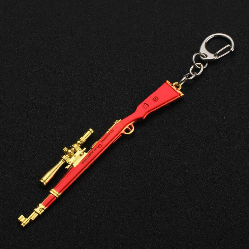 2PCS New Style Car Keychain Metal Creative Model Gun Mens Waist Hanging Key Rings Holder Auto Accessor