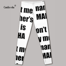 Free shipping hot sexy fashion leggins pants digital printing of letter leggings for women drop