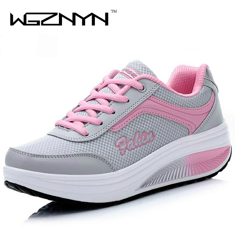 WGZNYN 2018 New Summer Zapato Woman Breathable Mesh Zapatillas Shoes For Women Sneakers Casual Shoes Flats EUR Size 35-40 hot new 2016 fashion high heeled women casual shoes breathable air mesh outdoor walking sport woman shoes zapatillas mujer 35 40