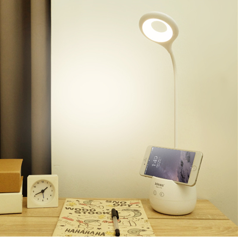 цена на LED Touch Switch Desk Lamp with Pen holder Children Eye Protection Student Study Reading Dimmer Rechargeable Led Table Lamps