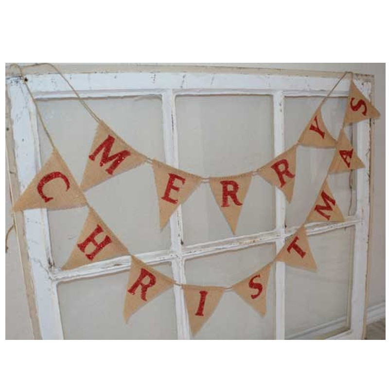 free shipping merry christmas mini burlap banner bunting garland party decorations home party supplies photo props diy flag in event party from home - Merry Christmas Burlap Banner