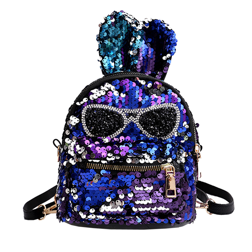 5803bc733e1a US $5.24 30% OFF|Women Bling Sequins Backpack Cute Big Rabbit Ears Double  Shoulder Bag Women Mini Backpacks Children Girls Travel Bag mochila #10-in  ...