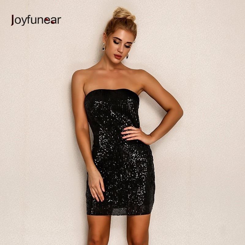 Joyfunear 2019 Fashion Women Sexy Dress Summer Bodycon Mini Party Dress Vintage Off Shoulder Elegant Strapless Dresses Vestidos
