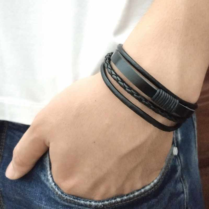 Men Bracelet Punk Black/Brown/Blue/Lake Blue Braided Leather Bracelet Bangle Male Accessories Jewelry Black Leather Bracelets