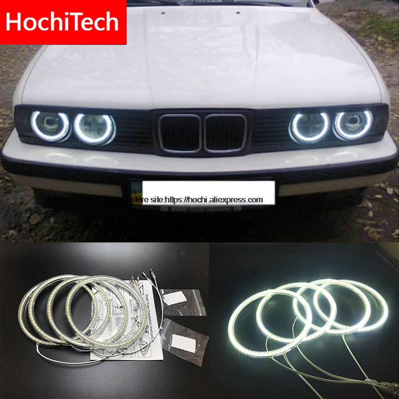 HochiTech for BMW E30 E32 E34 1984-1990 Ultra bright SMD white LED angel eyes 2600LM 12V halo ring kit daytime running light DRL цена