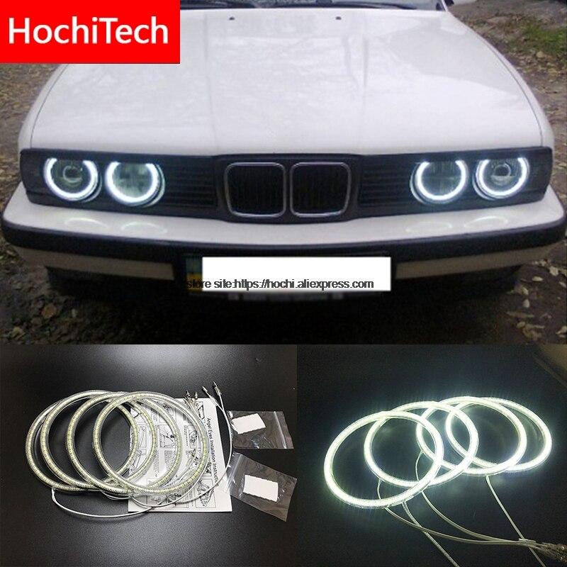 HochiTech para BMW E30 E32 E34 1984-1990 LED branco Ultra brilhante SMD angel eyes 2600LM 12 v auréola kit anel de luz de circulação diurna DRL