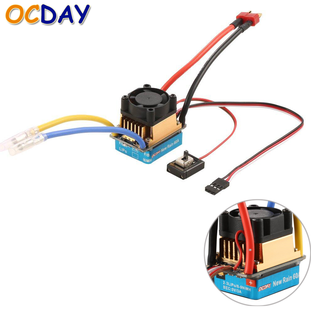OCDAY 2-3 Lipo/6-9NiMH 60A Dual Mode Brush Speed Controller ESC Regulator With Cooling Fan For 1/10 RC Car