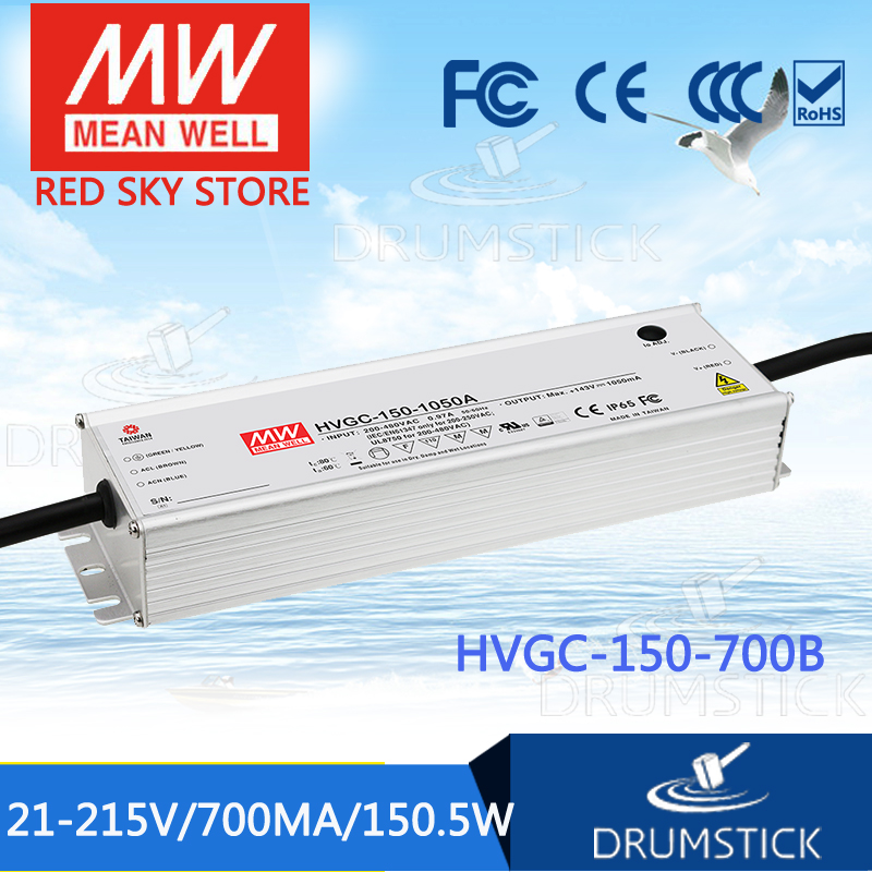 Hot sale MEAN WELL HVGC-150-700B 21 ~ 215V 700mA meanwell HVGC-150 150.5W SingleOutput LED Driver Power Supply B Type [powernex] mean well original hvgc 150 700a 21 215v 700ma meanwell hvgc 150 150 5w singleoutput led driver power supply a type