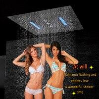 Насадки для душа светодиодный потолочный Роскошные 800x800 мм Ванная комната нержавеющей накладные большой дождевой Душ водопад swirl Шторы дож