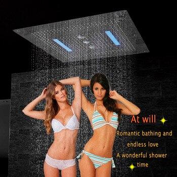 Cabezal de ducha de techo LED de lujo 800*800mm, baño multifunción, ducha grande, ducha, cascada, remolino, cortina