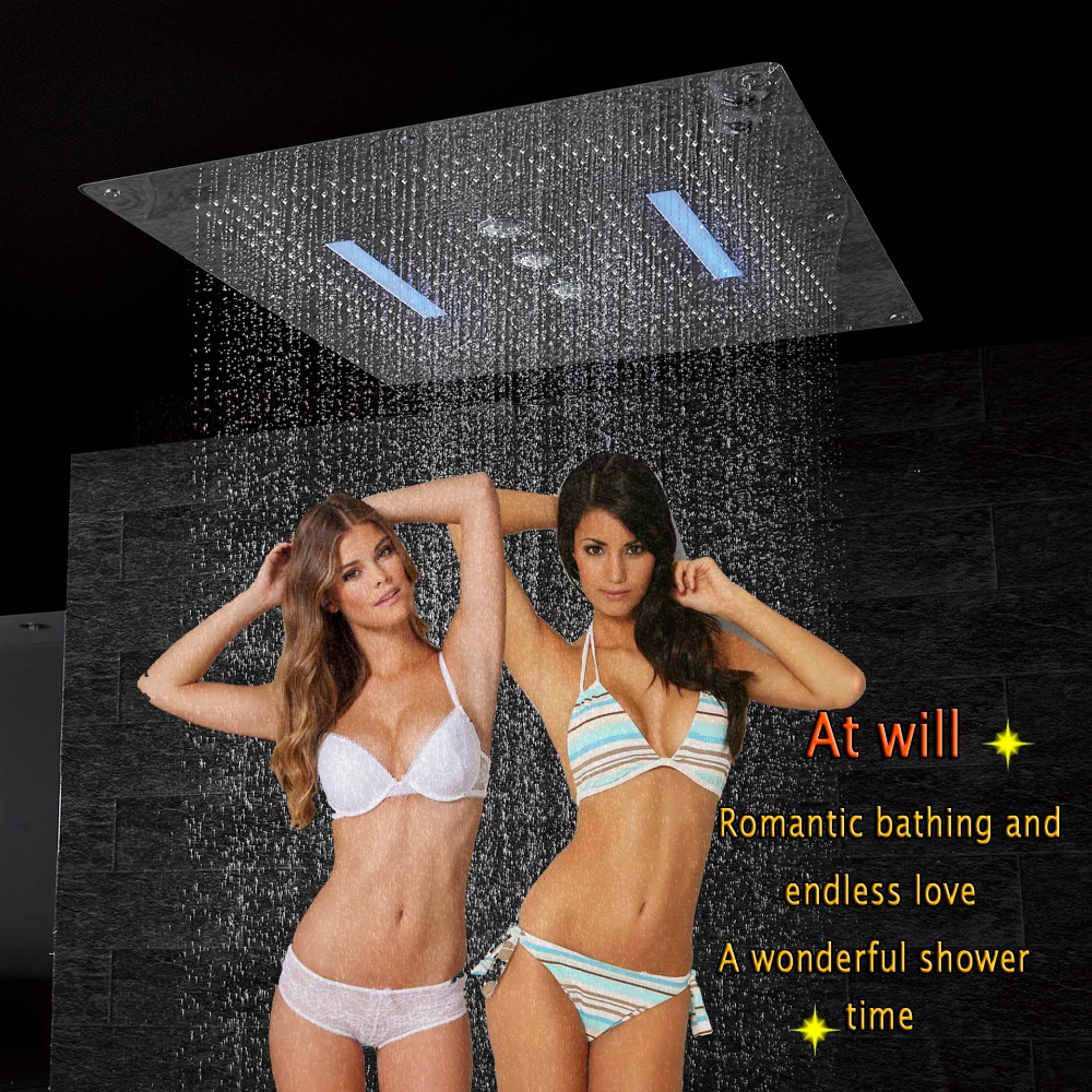 Shower Head LED Ceiling Luxury 800x800mm Bathroom Stainless Overhead Large Shower Rainfall Waterfall Swirl Curtain Rain Big sunset stone pattern waterproof bathroom shower curtain