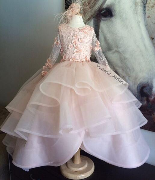 Long sleeves blush pink little princess party dance performing dresses beaded ruffles kid pageant flower girl dress with train pink lace up design cold shoulder long sleeves hoodie dress
