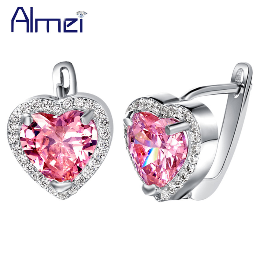 Almei Heartbrincos para as mulheres Silver Plated Pink Earrings for Wedding Bridal,brincos de casamento,silver 925 earrings R719