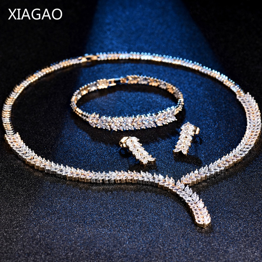 XIAGAO Luxury Leaf Crystal Brides Jewelry Sets Gold Color Rhinestone Necklace Earring Bracelet Sets Wedding Jewelry for Women viennois new blue crystal fashion rhinestone pendant earrings ring bracelet and long necklace sets for women jewelry sets