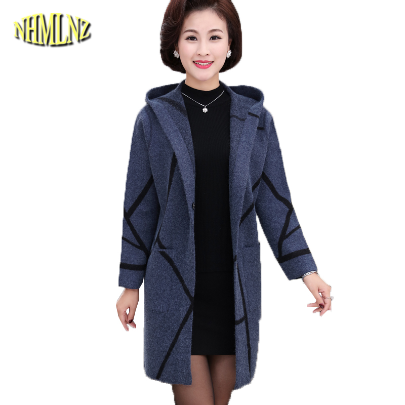 2019 Autumn Solid Cardigan Coat Female Long sleeve Hooded Loose   Trench   Sweater Large size 4XL Middle-aged Women   Trench   DAN279