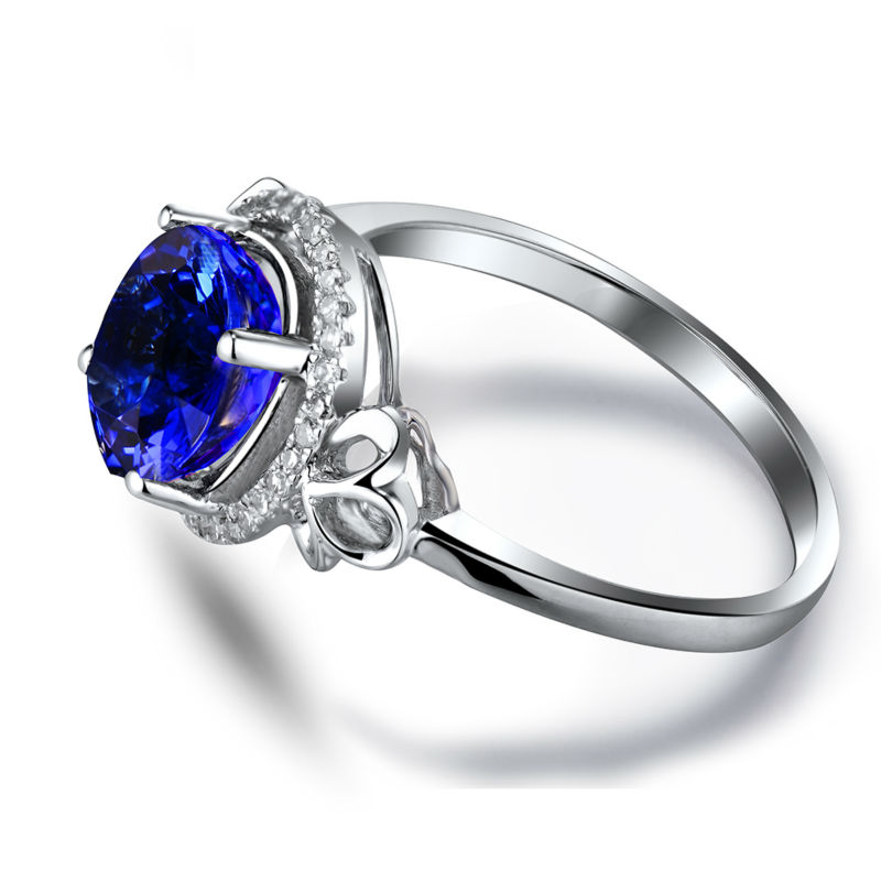 New Engagement Oval 7x8mm Natural Diamond Tanzanite Ring 18kt White Gold Genuine Gem Jewelry for Wife Loving Gift R581