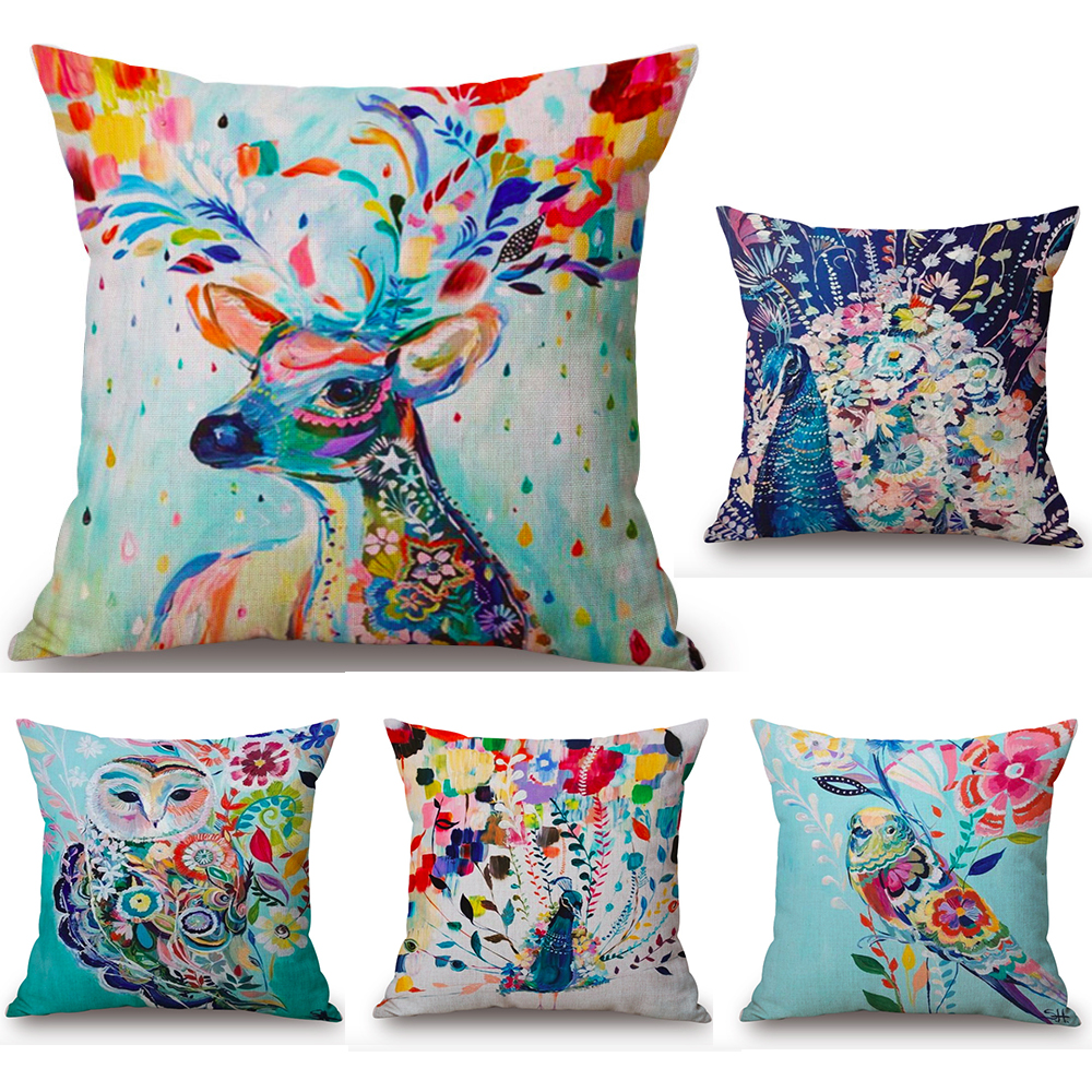 Groovy Us 3 99 Watercolor Deer Peacock Owl Neck Body Pillowcase Linen Bed Pillows Cover Couch Seat Cushion Throw Pillow Home Decoration Gift In Decorative Inzonedesignstudio Interior Chair Design Inzonedesignstudiocom