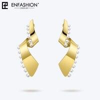 Enfashion Pearl Lacy Earrings For Women Fashion Jewelry Dangle Long Earring Big Earings Boucle D'oreille Femme 2018 EFJ181057