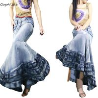 Women Floor Long Jean Memaid Skirt Vintage Cake Expansion Bottom Fish Tail Denim Skirt Denim Package