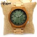 2017 chegam Novas de Luxo das Mulheres Dos Homens faixa de Relógio De Madeira De Bambu De Madeira verde rosto relógios de Pulso de Quartzo com caixa de origem para o presente