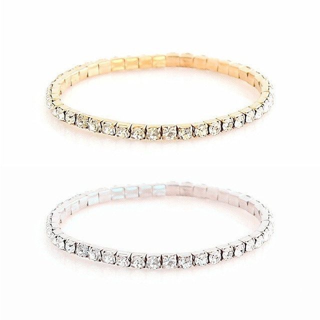 Punk Retro Charm Simple Moon Star Heart Crystal Elasticity Bracelet