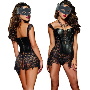 Sexy Lingerie with G-string Sets Women Faux Leather&Lace Burlesque Steampunk Corset Set Waist Gothic Bustier Corpet Plus Size 1