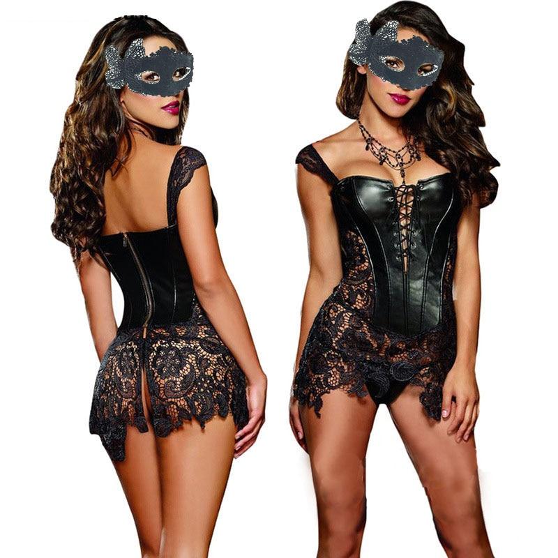 Sexy Lingerie with G-string Sets Women Faux Leather&Lace Burlesque Steampunk Corset Set Waist Gothic Bustier Corpet Plus Size