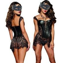 Sexy Lingerie with G string Sets Women Faux Leather&Lace Burlesque Steampunk Corset Set Waist Gothic Bustier Corpet Plus Size