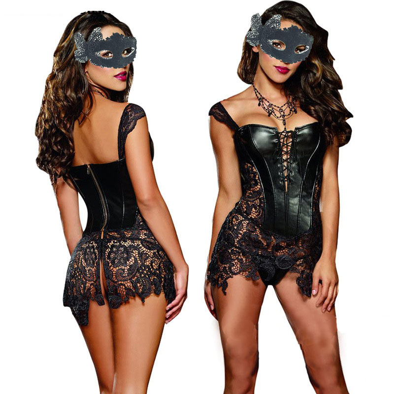 Sexy Lingerie with G-string Sets Women Faux Leather&Lace Burlesque Steampunk   Corset   Set Waist Gothic   Bustier   Corpet Plus Size