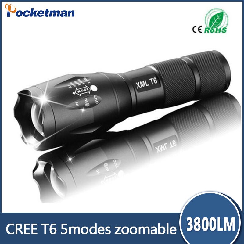 E17 CREE XM-L T6 3800Lumens cree led Torch Zoomable cree LED Flashlight Torch light For 3xAAA or 1x18650 Free shipping 3000 lumens zoomable cree xm l t6 led tactical flashlight torch zoom lamp light waterproof led 5 modes for 1x18650 3xaaa